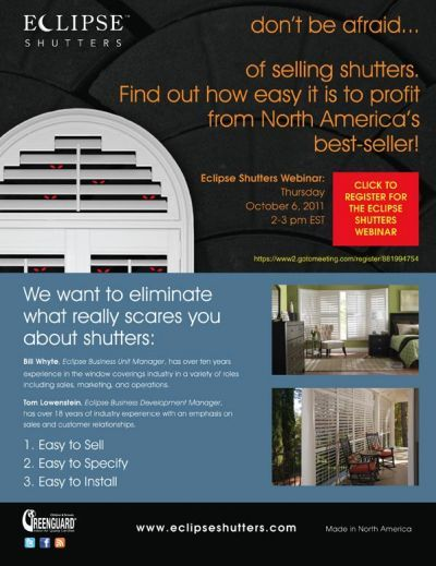 """Don't be afraid to sell shutters!"" Seminar Video Online"