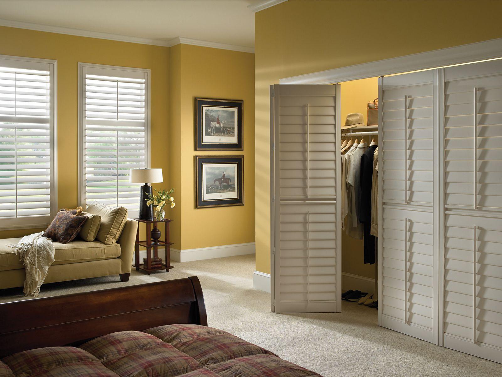 Pearl • Bi-fold closet doors • 3½ inch louver • Trim Frame • Deluxe Divider Rail • Tilt Bar