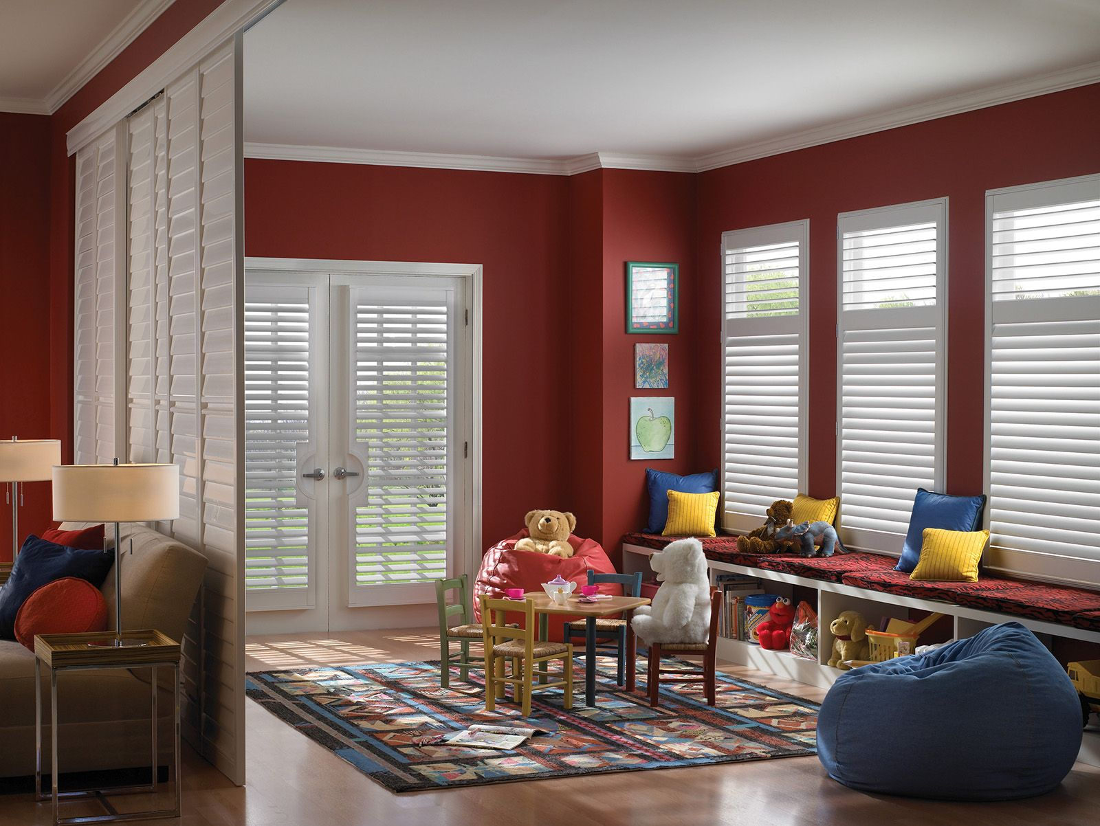 Cotton • 3½ inch louvers on Room Divider/By-Pass Track System with Decorative Valance • 2½ inch louvers on French Door Cut-out and windows • Divider Rail • UltraClearview® hidden rear tilt